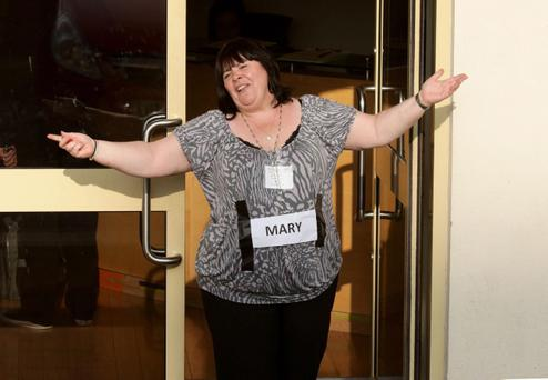 Mary Byrne arrives for X Factor rehearsals at Fountain Studios in Wembley, north London