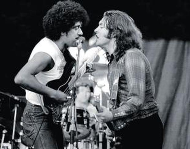 Phil Lynott joins Rory Gallagher for a song at Punchestown Racecourse in 1982