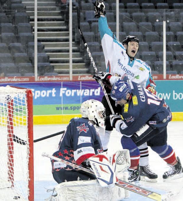 Brad all over: Belfast Giants' new-boy Brad Smyth was on target for Doug Christiansen's men last night as they notched up a hard-fought win over Dundee Stars
