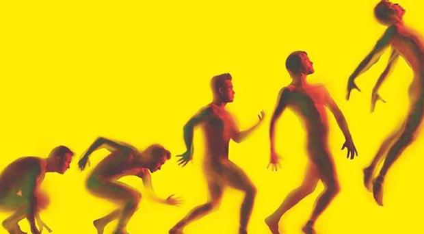 Undated handout of the cover of Take That's forthcoming album Progress showing the band in a primal Darwin-esque shot. PRESS ASSOCIATION Photo. Issue date: Tuesday October 19, 2010. Take That are showing their musical evolution - by stripping to ape the famous 'ascent of man' image. Top photographer Nadav Kander - who has photographed President Barack Obama - created the shot which sees the slightly blurred figures against a vivid yellow background. Kander's artwork has previously featured on albums by Snow Patrol and Richard Ashcroft. See PA story SHOWBIZ TakeThat Album. Photo credit should read: Handout/PA Wire