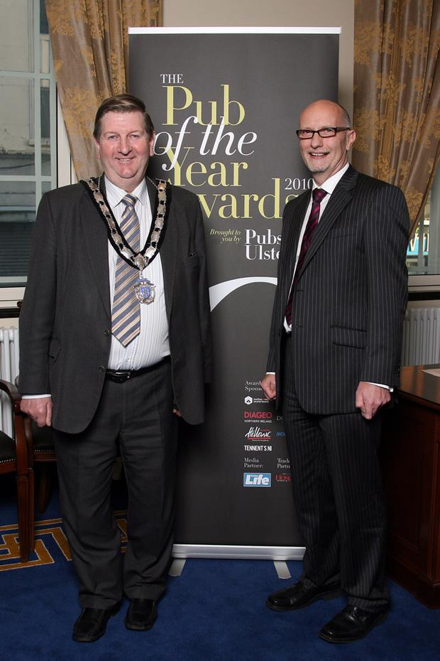 Pub of the Year Awards 2010 - Antrim Regional Final Pictured Deputy mayor councilor William McNeilly with Colin Neill (CEO of Pubs of Ulster)