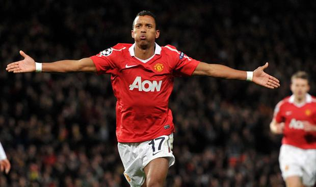 Manchester United's Luis Nani celebrates after scoring his side's first goal of the game during the UEFA Champions League match at Old Trafford, Manchester. PRESS ASSOCIATION Photo. Picture date: Wednesday October 20, 2010. Photo credit should read: Martin Rickett/PA Wire.