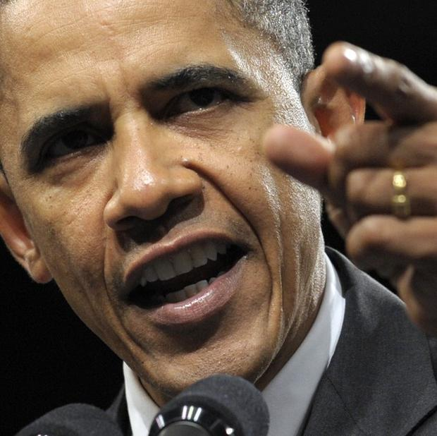 President Barack Obama speaks during a rally in Washington