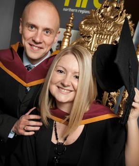 Hats off to NRC Graduates: Husband and wife, Ian and Cherie Armour from Coleraine, celebrate graduating from the City and Guilds FE Teaching Course