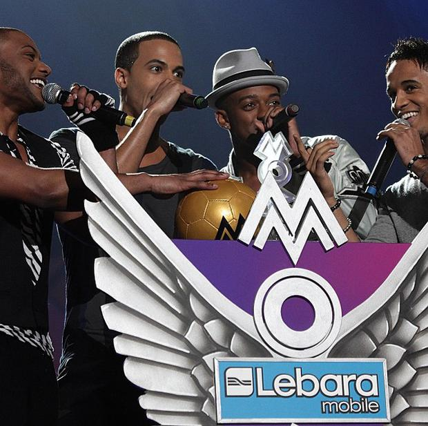Members of JLS on stage during the 2010 Mobo Awards, at the Echo Arena, Liverpool