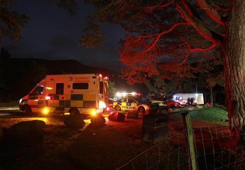 Emergency services at the scene on Saturday night
