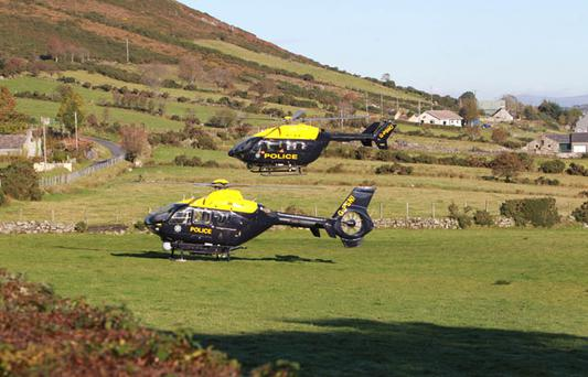Northern Police helicopters at the scene between Rostrevor and Hilltown Co Down