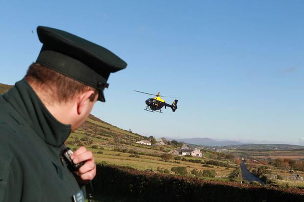 Police helicopters at the scene between Rostrevor and Hilltown Co Down