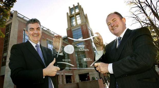 Gary Jebb of Queens University with Alistair Dunn, chairman of the RICS Northern Ireland judging panel