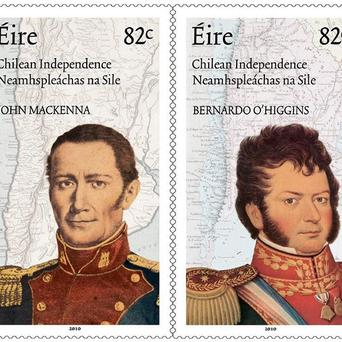 Stamps marking the 200th anniversary of the struggle for independence in Chile feature Irishmen Bernard O'Higgins and John (Juan) MacKenna