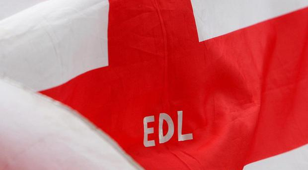 The English Defence League is demonstrating in Amsterdam in support of politician Geert Wilders