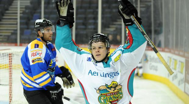 26/10/10: Craig Peacock of the Belfast celebrates scoring the first goal against the Hull Stingrays during the Elite League game in Belfast. Picture: Michael Cooper