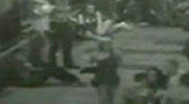 CCTV still showing the moment after a car drove into a crowd of revellers outside a bar in Rochdale