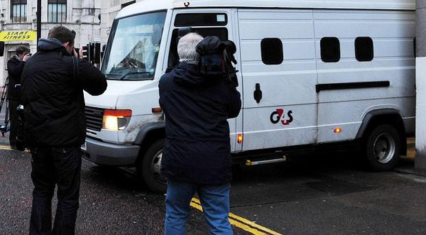 A van leaves Newcastle Crown Court, where Pc Stephen Mitchell, 41, is being tried for alleged rape and other sex assaults