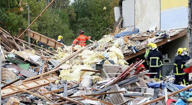 The scene of a gas explosion in Salford. Investigators are now trawling the area to find the cause of the blast