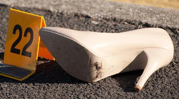 A shoe on the ground on Packer Street in Rochdale, after a car drove into a group of people outside a nightclub