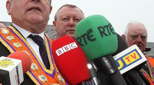Edward Stevenson is the favourite to replace Robert Saulters, pictured, who will step down as Grand Master of the Orange Order