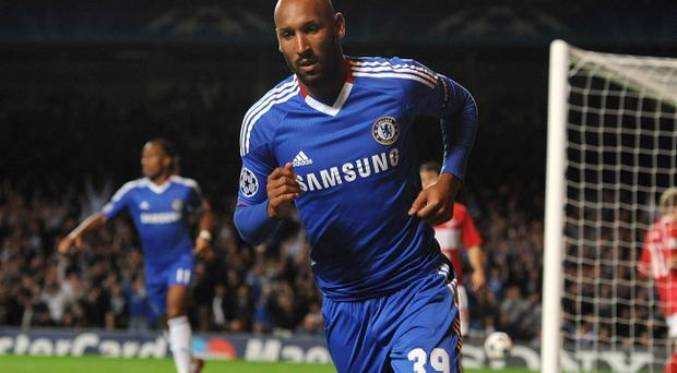 Chelsea's Nicolas Anelka celebrates scoring his sides first goal of the game during the UEFA Champions League, Group F match at Stamford Bridge, London. PRESS ASSOCIATION Photo. Picture date: Wednesday November 3, 2010. See PA story SOCCER Chelsea. Photo credit should read: Anthony Devlin/PA Wire.