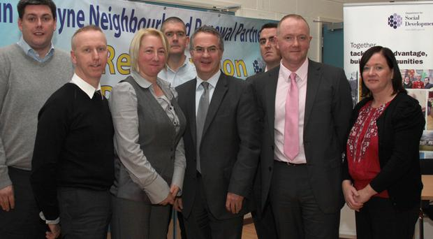 Social Development Minister Alex Attwood at the Crumlin / Ardoyne Neighbourhood Renewal Partnership 'Showcase Event' with (l to r) Stephen Reid, Vine Centre; Bryan Irwin, Cancer Lifeline; Janice Beggs, Avoca Street Training and Development Centre; Manus Maguire, Chair of the Crumlin/ Ardoyne Neighbourhood Partnership, Shane Whelan, Ardoyne Youth Providers Forum; Liam McStravick, Copius Consulting and Sally Smyth, Ardoyne Womens Group