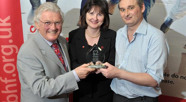 Jackie Fullerton MBE, Marjory Burns, BHF Northern Ireland Director and award winner Andrew Campbell