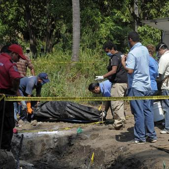 Forensic workers remove a body which was buried at a field in the town of Tuncingo, southern Mexico (AP)