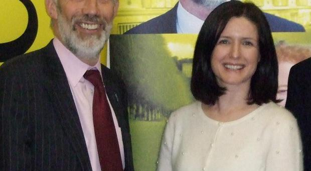 Alliance leader David Ford with new party member Paula Bradshaw