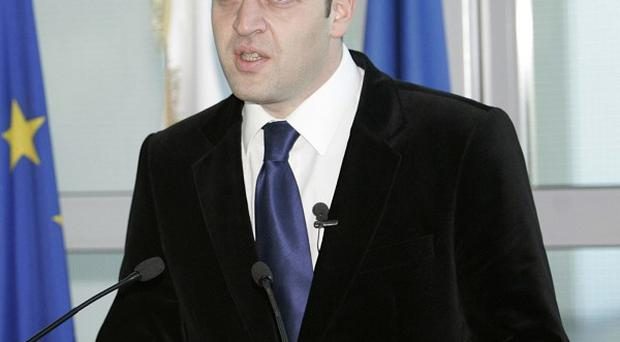 Georgian deputy chief of counter intelligence Otar Ordzhonikidze speaks at a news conference in Tbillisi, Georgia (AP)