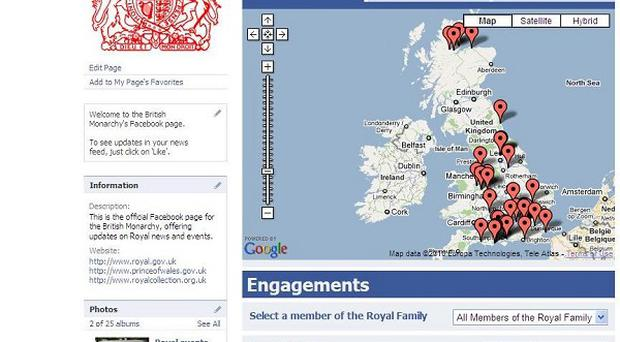 The British Monarchy Facebook 'Near Me' application