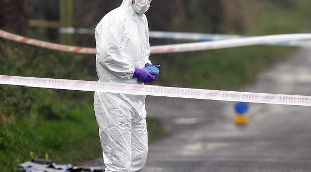 Police sealed off an area near Armoy in Co Antrim after a car believed to be involved in the kidnapping was found burnt out