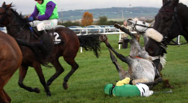 Ruby Walsh falls from Corrick Bridge, sustaining a double fracture of his leg