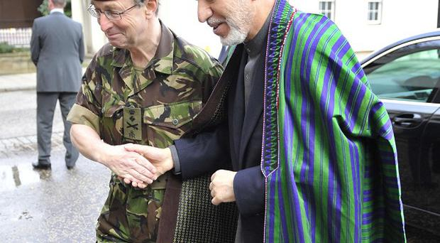 Afghan president Hamid Karzai with Chief of the General Staff General Sir David Richards