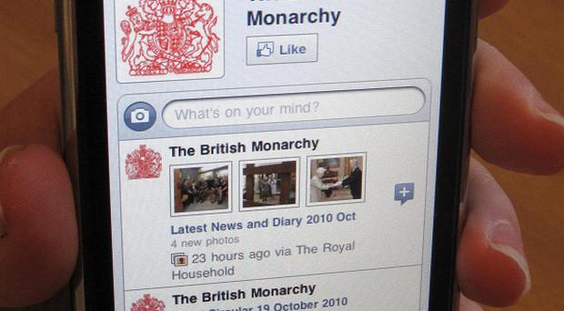Users can 'like' the British Monarchy's Facebook page