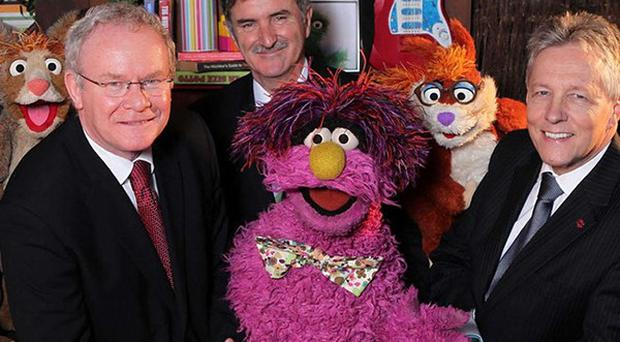 Guests including First Minister Peter Robinson pictured with Hilda, Potto and Archie from Sesame Tree