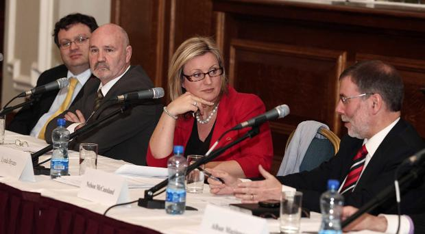 Tell Us All About It comes to Belfast City Hall. Top table speakers left to right: Alliance Party MLA for North Down Stephen Farry, Sinn Fein's Alex Maskey, chair Lynda Bryans and Culture Minister Nelson McCausland