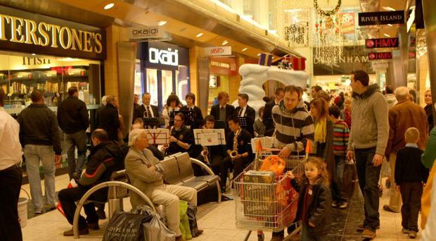 Irish retailers say cross-border shopping in locations like The Quays in Newry is falling back