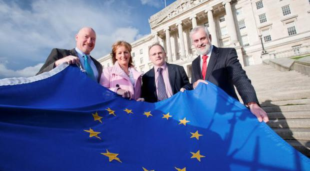 Preparing for the mission to Finland: Joe Kelly, chief executive of Craft NI, with (from left) Shiona Croft of South Eastern Regional College, Barry McElduff MLA, chairman of the Culture Arts and Leisure Committee and Nick Livingston, director of strategic development at the Arts Council of Northern Ireland