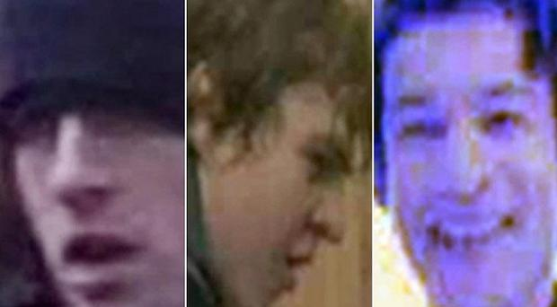 Three of the 13 protesters captured on CCTV
