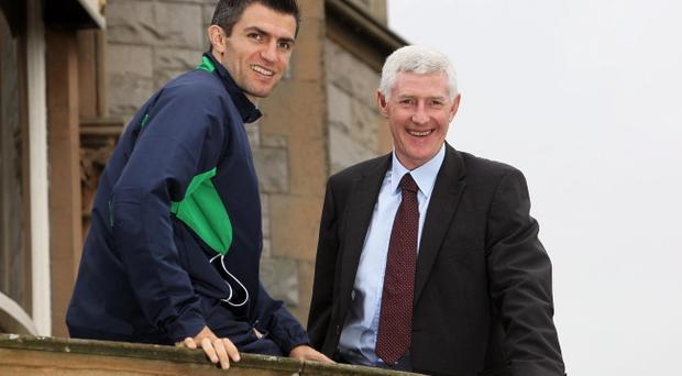 Nigel Worthington and Aaron Hughes look ahead to tonight's game at the Culloden Hotel yesterday