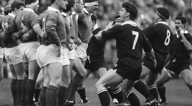 Ireland vs New Zealand 18/11/1989.Irish Captain Willie Anderson faces up to New Zealand Captain Wayne Shelford as the All Blacks preform 'The Haka'.©INPHO/Billy Stickland