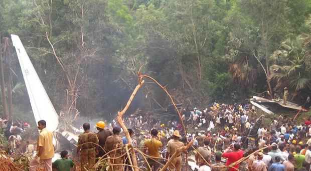 The scene in Mangalore of the Air India plane crash in May