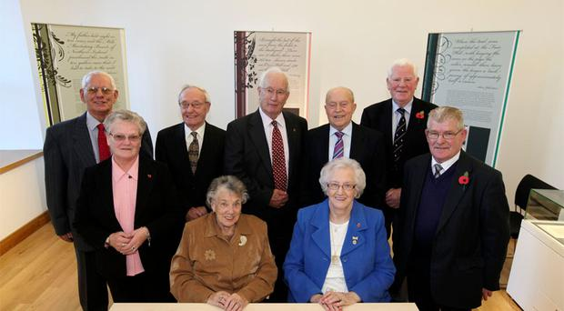 Former Mill workers attended the Official opening of Museum at The Mill (back row L-R): John ONeill, George Hanna, James Henshall, Andy Hunter, Trevor Thompson; (front L-R): Marlene Blair, Charlotte Corbett, Beatrice Herron, Thomas Boyd