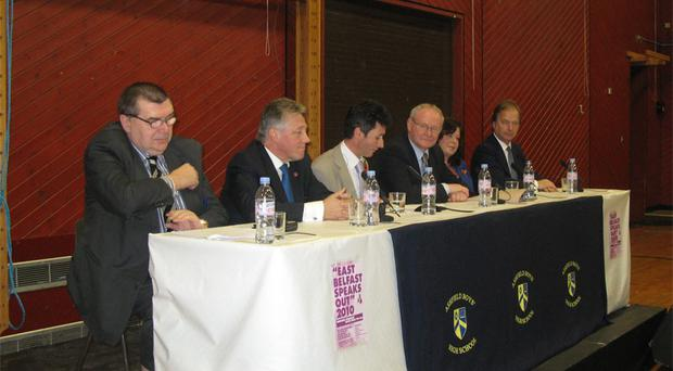 The illustrious panel included (l-r): Liam Clarke, First Minister Peter Robinson, Mark Devenport, Deputy First Minister Martin McGuinness, MLA Dawn Purvis and Minister of State Hugo Swire
