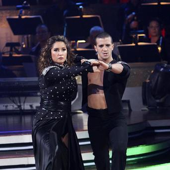 Bristol Palin, left, and her partner Mark Ballas perform during the celebrity dance competition. (AP)