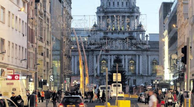 After many months of disruption, Donegall Place without barriers last night