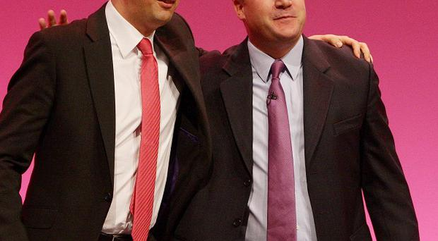 Labour Party leader Ed Miliband (left) with Shadow Education Secretary Ed Balls