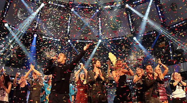 Take That perform during the Children in Need broadcast