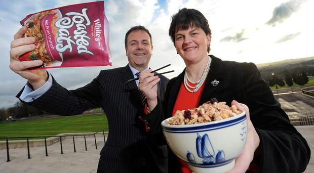 Co Armagh food firm White's has won a £200,000 contract with Wellcome, Hong Kong's biggest supermarket chain. Enterprise Minister Arlene Foster announced the export success as she prepares for a 27 company-strong Invest Northern Ireland trade mission to Shanghai and Hong Kong later this week. She sampled some of White's oat based cereal, joined by its sales and marketing director Mark Gowdy
