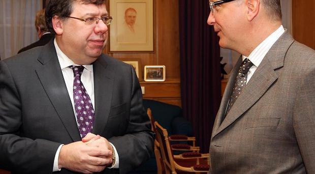 Irish Prime Minister Brian Cowen TD, left, and European Economic and Monetary Affairs Commissioner Olli Rehn met earlier this month