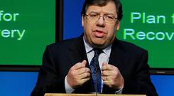 Irish prime minister Brian Cowen announces the National Recovery Plan at the Government Press Centre in Dublin