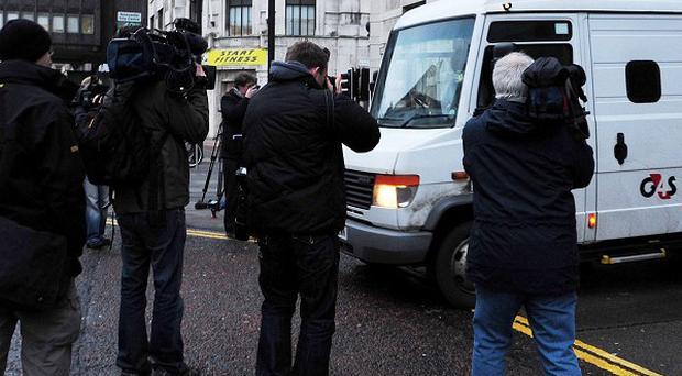 A van leaves Newcastle Crown Court, where Pc Stephen Mitchell, 41, was found guilty of rape